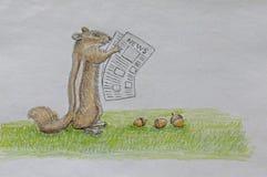 Ανάγνωση Newpaper σκιούρων απεικόνιση αποθεμάτων