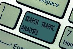 Ανάλυση κυκλοφορίας αναζήτησης κειμένων γραφής Έννοια που σημαίνει το λογισμικό ελέγχου εύρους ζώνης δικτύων ή το πληκτρολόγιο εφ στοκ φωτογραφίες με δικαίωμα ελεύθερης χρήσης