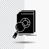 Ανάλυση, στοιχεία, οικονομικά, αγορά, εικονίδιο ερευνητικού Glyph στο διαφανές υπόβαθρο r απεικόνιση αποθεμάτων