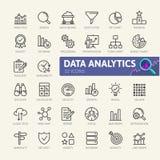 Ανάλυση στοιχείων, στατιστικές, analytics - ελάχιστο λεπτό σύνολο εικονιδίων Ιστού γραμμών Συλλογή εικονιδίων περιλήψεων Στοκ Εικόνες