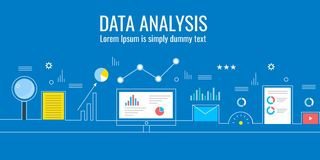 Ανάλυση στοιχείων, analytics μάρκετινγκ, επιχειρησιακή τεχνολογία, έννοια ελέγχου πληροφοριών Επίπεδο διανυσματικό έμβλημα σχεδίο Στοκ φωτογραφία με δικαίωμα ελεύθερης χρήσης