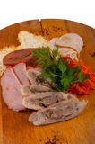 Ανάμεικτα κρέατα σε έναν ξύλινο πίνακα έννοια: πρόχειρα φαγητά Στοκ Φωτογραφία