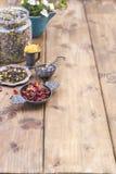 Ανάμεικτα ξηρά λουλούδια και τσάι σε ένα ξύλινο υπόβαθρο υγεία φυσική Aromatherapy Ελεύθερου χώρου για το κείμενο διάστημα αντιγρ Στοκ Εικόνα