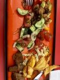 Ανάμεικτα τρόφιμα στο κόκκινο γεωμετρικό πιάτο στοκ φωτογραφίες με δικαίωμα ελεύθερης χρήσης