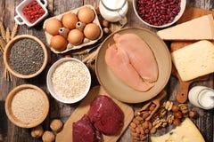 Ανάμεικτα τρόφιμα υψηλά στην πρωτεΐνη στοκ φωτογραφία με δικαίωμα ελεύθερης χρήσης