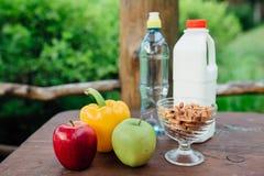 Ανάμεικτα φρέσκα λαχανικά, πιπέρια, μήλα, νερό και γάλα στον ξύλινο πίνακα γιόγκα, έννοια ζωής, υγιή τρόφιμα κατανάλωσης Στοκ εικόνες με δικαίωμα ελεύθερης χρήσης
