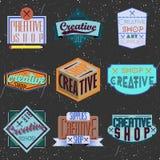 Ανάμεικτα insignias σχεδίου χρώματος αναδρομικά logotypes Στοκ φωτογραφία με δικαίωμα ελεύθερης χρήσης