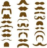 Ανάμεικτες καφετιές σκιαγραφίες Moustache Στοκ Φωτογραφίες