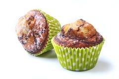 Ανάμεικτος με τα εύγευστα σπιτικά cupcakes με τις σταφίδες και τη σοκολάτα που απομονώνεται στο άσπρο υπόβαθρο Muffins Τοπ όψη στοκ εικόνα με δικαίωμα ελεύθερης χρήσης
