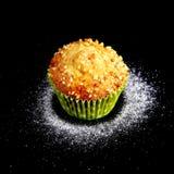Ανάμεικτος με τα εύγευστα σπιτικά cupcakes με τις σταφίδες και τη σοκολάτα στο μαύρο υπόβαθρο Muffins Τοπ όψη διάστημα αντιγράφων στοκ εικόνα