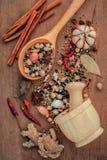 Ανάμεικτος των καρυκευμάτων στο ξύλινο μαύρο πιπέρι κουταλιών, άσπρο πιπέρι, Στοκ εικόνες με δικαίωμα ελεύθερης χρήσης