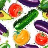 Ανάμεικτο άνευ ραφής σχέδιο λαχανικών Ντομάτα, αγγούρι, αβοκάντο και μελιτζάνα άνευ ραφής Στοκ Εικόνα