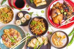 Ανάμεικτο κινεζικό σύνολο τροφίμων, που τονίζεται Στοκ Φωτογραφία