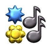 Ανάμεικτο μπαλόνι φύλλων αλουμινίου λουλουδιών αστεριών σημειώσεων μουσικής Στοκ εικόνες με δικαίωμα ελεύθερης χρήσης