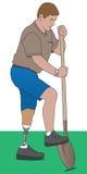 Ανάπηρος που χρησιμοποιεί το φτυάρι Στοκ Φωτογραφίες