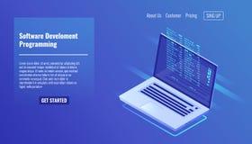 Ανάπτυξη λογισμικού και προγραμματισμός, κώδικας προγράμματος στην οθόνη lap-top, μεγάλα στοιχεία - επεξεργασία, isometric τρισδι διανυσματική απεικόνιση