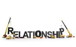 Ανάπτυξη μιας σχέσης: Μηχανές που χτίζουν τη λέξη. Στοκ Φωτογραφία