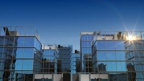 Ανάπτυξη των κτηρίων στο μπλε ουρανό με τον ήλιο HD 1080 διανυσματική απεικόνιση