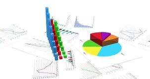 Ανάπτυξη των οικονομικών διαγραμμάτων στο άσπρο υπόβαθρο Τρισδιάστατη ζωτικότητα Loopable 4K βελτιωμένη έκδοση ελεύθερη απεικόνιση δικαιώματος
