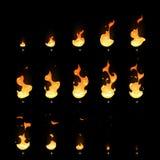Ανάφλεξη και εξασθενίζοντας σύνολο κινούμενων σχεδίων φύλλων δαιμονίου ζωτικότητας παγίδων πυρκαγιάς διανυσματικό απεικόνιση αποθεμάτων