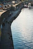Ανάχωμα ποταμών στην πόλη Kyiv, Κίεβο, Ουκρανία, εικονική παράσταση πόλης, ποταμός Dnipro Στοκ Εικόνες