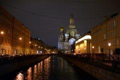 Ανάχωμα του καναλιού Griboedov στο βράδυ Στοκ εικόνα με δικαίωμα ελεύθερης χρήσης
