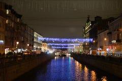 Ανάχωμα του καναλιού Griboedov στο βράδυ Στοκ Εικόνες