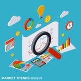 Ανάλυση τάσεων αγοράς, οικονομικές στατιστικές, διανυσματική έννοια επιχειρησιακών εκθέσεων ελεύθερη απεικόνιση δικαιώματος