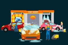 Ανέπαφες υπηρεσίες πλύσης αυτοκινήτων, πρότυπο καθαρίζοντας αυτοκίνητο κοριτσιών μπικινιών με το σαπούνι και νερό, εσωτερική ηλεκ διανυσματική απεικόνιση