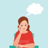 Ανήσυχη γυναίκα που αισθάνεται τη θλίψη και το σκεπτόμενο μπαλόνι απεικόνιση αποθεμάτων