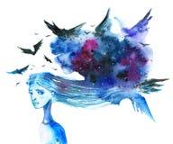 Ανήσυχη μακρυμάλλης γυναίκα με το σκούρο μπλε σύννεφο και πουλιά πέρα από το κεφάλι της - δώστε τη συρμένη απεικόνιση watercolor  απεικόνιση αποθεμάτων