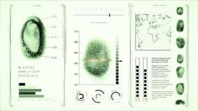 Ανίχνευση δακτυλικών αποτυπωμάτων οθόνης, πράσινο χρώμα δακτυλικών αποτυπωμάτων αναζήτησης ανθρώπων διεπαφών απόθεμα βίντεο