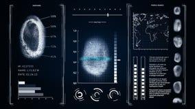 Ανίχνευση δακτυλικών αποτυπωμάτων οθόνης, σκούρο μπλε χρώμα δακτυλικών αποτυπωμάτων αναζήτησης ανθρώπων διεπαφών απόθεμα βίντεο