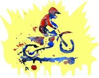 Αναβάτης μοτοκρός Watercolor διανυσματική απεικόνιση