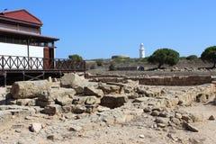 Αναγνωριστικό σήμα στις archeological καταστροφές πάρκων στη Πάφο Στοκ Εικόνες