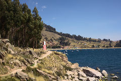 Αναγνωριστικό σήμα Copacabana στη λίμνη Titicaca, Βολιβία Στοκ φωτογραφίες με δικαίωμα ελεύθερης χρήσης