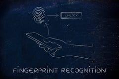 Αναγνώριση δακτυλικών αποτυπωμάτων στα smartphones Στοκ φωτογραφία με δικαίωμα ελεύθερης χρήσης