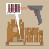 Αναγνώστης και κουτιά από χαρτόνι κώδικα διανυσματική απεικόνιση