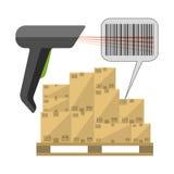 Αναγνώστης κώδικα με τα κιβώτια Στοκ εικόνα με δικαίωμα ελεύθερης χρήσης