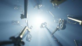 Αναδρομικά εκλεκτής ποιότητας χρυσά κλειδιά που πετούν στο σκοτάδι Το Volumetriclight, λάμπει μυστικό Ρεαλιστική 4K ζωτικότητα