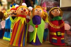 Αναδρομικά παιχνίδια Χριστουγέννων παιχνιδιών μαριονετών δάχτυλων Στοκ εικόνα με δικαίωμα ελεύθερης χρήσης