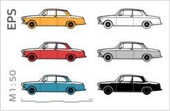 Αναδρομικά παλαιά διανυσματικά εικονίδια αυτοκινήτων που τίθενται για το αρχιτεκτονικό σχέδιο και το illustation διανυσματική απεικόνιση