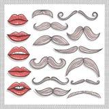 Αναδρομικά χείλια και mustaches στοιχεία που τίθενται ελεύθερη απεικόνιση δικαιώματος