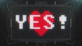 Αναδρομικές videogame ΝΑΙ κείμενο και καρδιά λέξης στο φουτουριστικό άνευ ραφής βρόχο ζωτικότητας οθόνης παρέμβασης δυσλειτουργία διανυσματική απεικόνιση