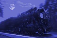 αναδρομική ατμομηχανή τη νύχτα στοκ φωτογραφία