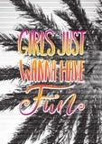Αναδρομική αφίσα έννοιας ταξιδιού Τα κορίτσια θέλουν ακριβώς να έχουν τη διασκέδαση - χειρόγραφη εγγραφή, απόσπασμα καλοκαιρινών  Στοκ Εικόνα