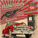 Αναδρομική αφίσα πρατηρίων καυσίμων στοκ φωτογραφία