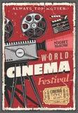 Αναδρομική αφίσα φεστιβάλ κινηματογράφων, τρύγος camcorder διανυσματική απεικόνιση