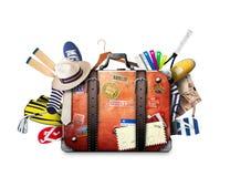 Αναδρομική βαλίτσα ενός ταξιδιώτη Στοκ Φωτογραφίες