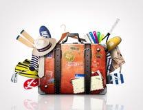 Αναδρομική βαλίτσα ενός ταξιδιώτη Στοκ Εικόνα